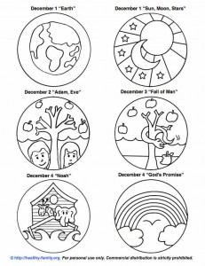 Free printouts to color and make your own Jesse Tree..
