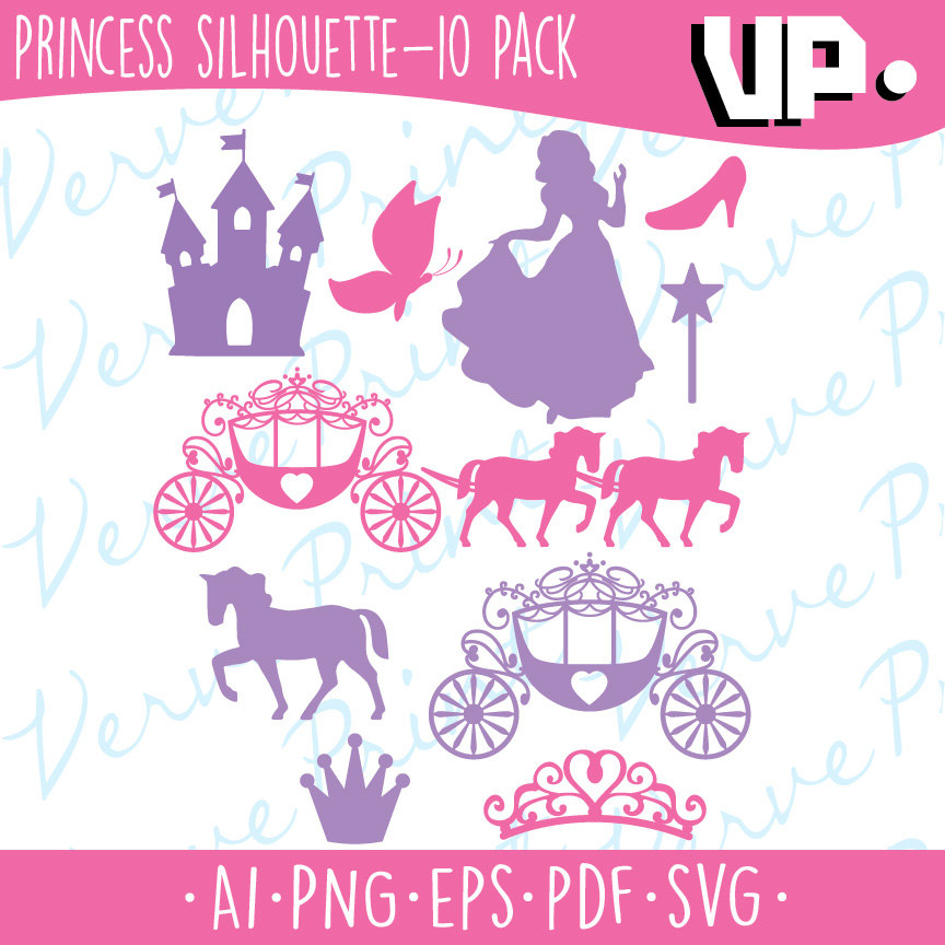 Princess Silhouette Svg, Ai, Eps, Pdf Cutting file, Princess.