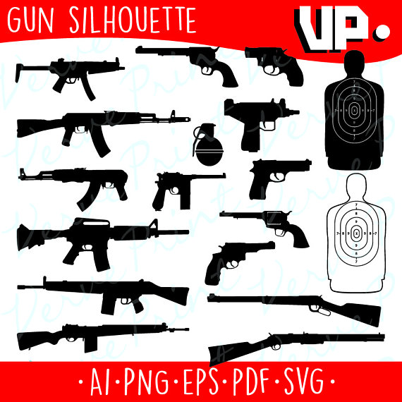 Gun Silhouette Svg, Ai, Eps, Pdf Cutting file, Gun vector clipart.