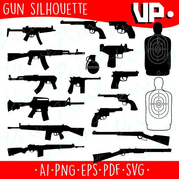 Gun Silhouette Svg, Ai, Eps, Pdf Cutting file, Gun vector clipart.