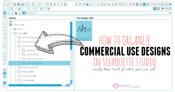 Organizing Commericial Use Files in Silhouette Studio Library.