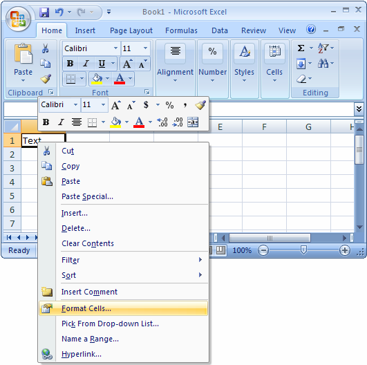 MS Excel 2007: Rotate text in a cell.
