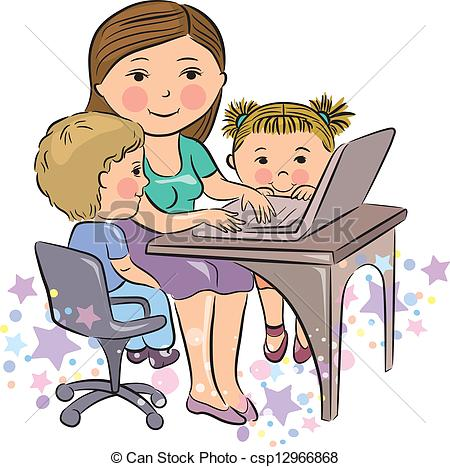 Clip Art Vector of Busy mother works with kids. Contains.