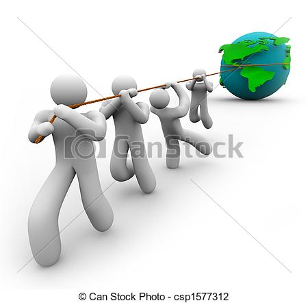 Clip Art of Team Pulling the World.