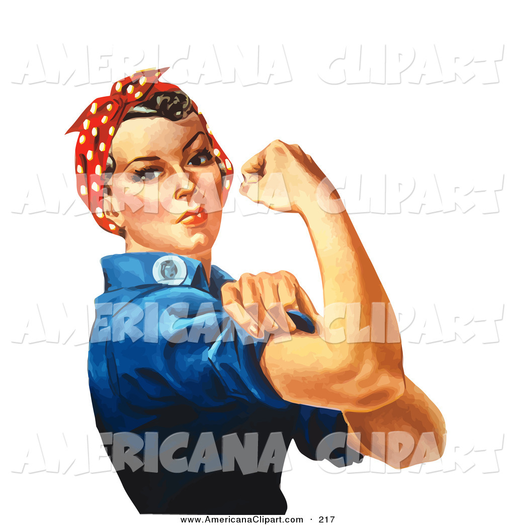 Americana Vector Clip Art of a Tough White Lady, Rosie the Riveter.