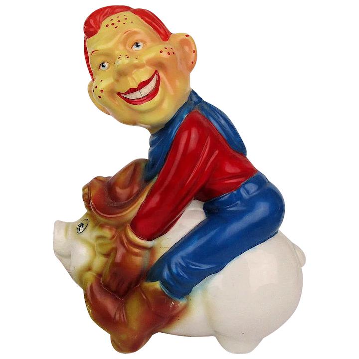 1980s Howdy Doody Rides Pig Ceramic Figural Lamp.