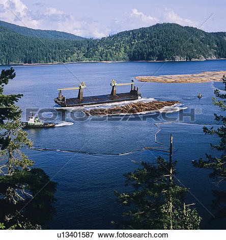 Picture of Log barge unloading, Howe Sound, british columbia.