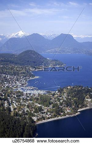 Pictures of Gibsons Aerial, Summer, Howe Sound, Sunshine Coast.