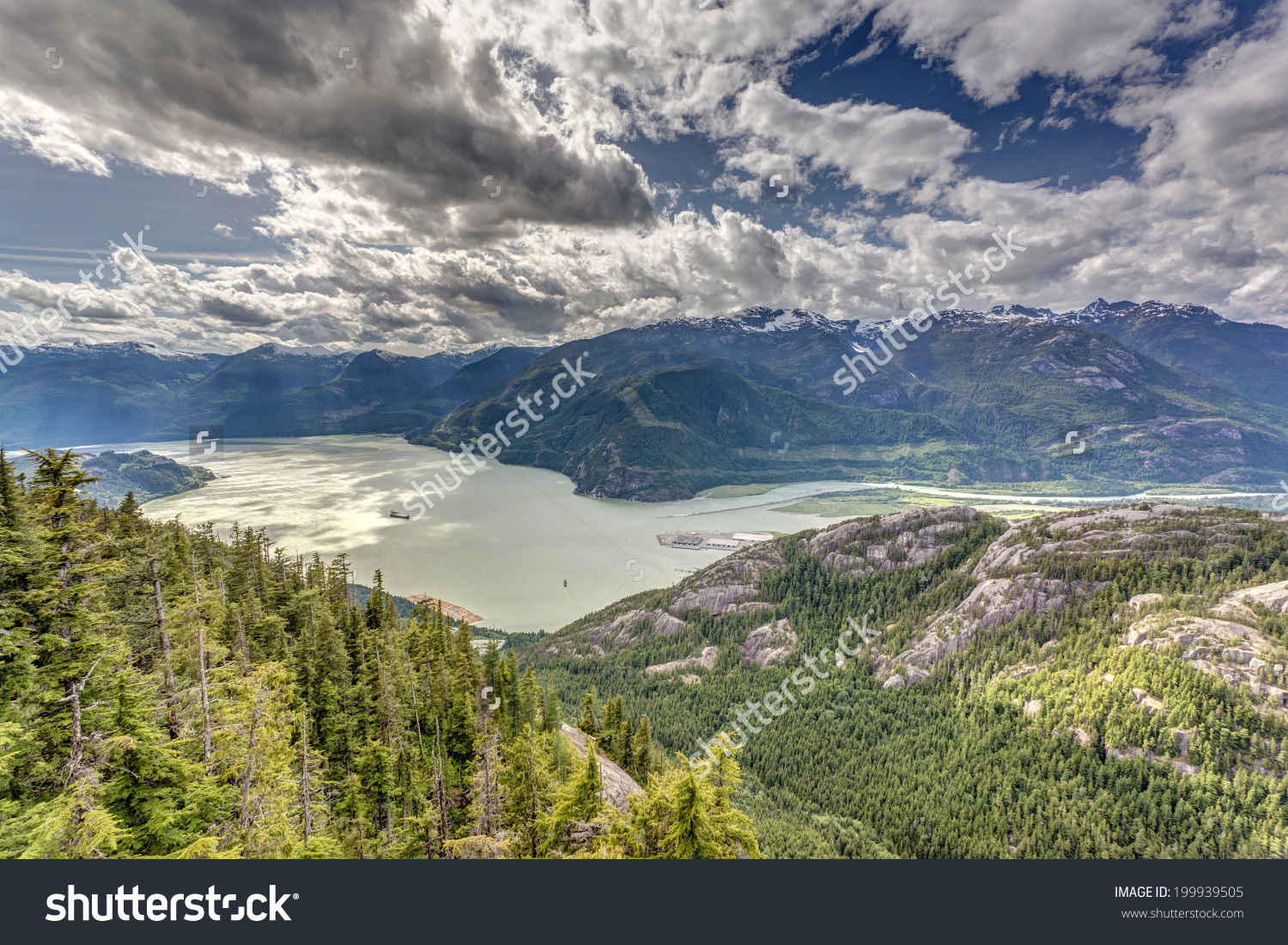 Scenic View Of Howe Sound From The Sea To Sky Gondola In Squamish.
