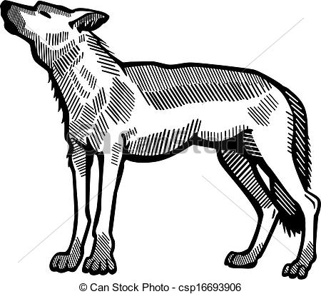 Vector Clipart of Howling Wolf.