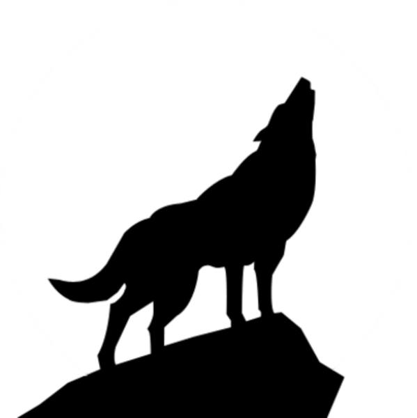 Howling Wolf Silhouette Clipart.