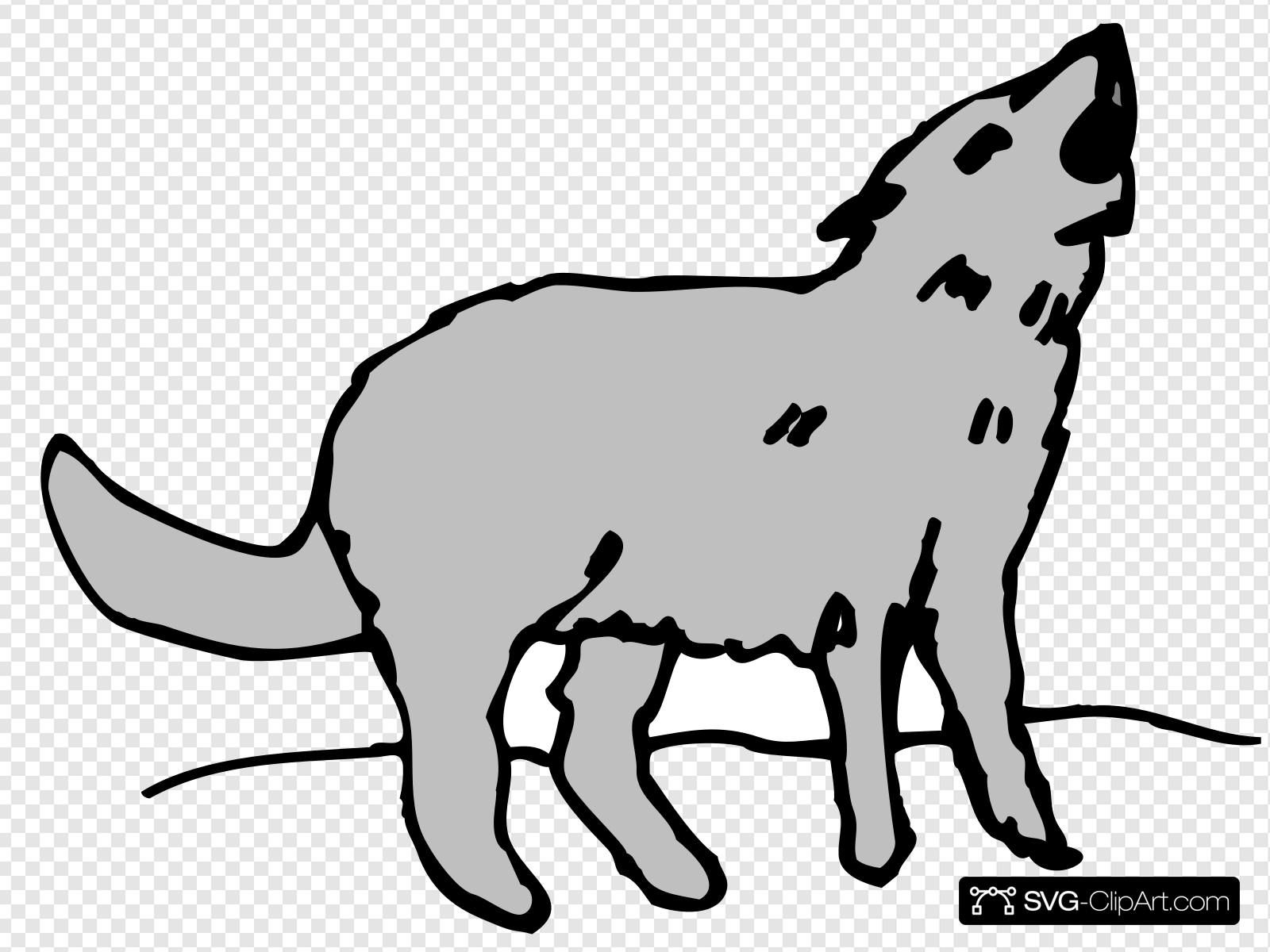 Gray Howling Coyote Clip art, Icon and SVG.