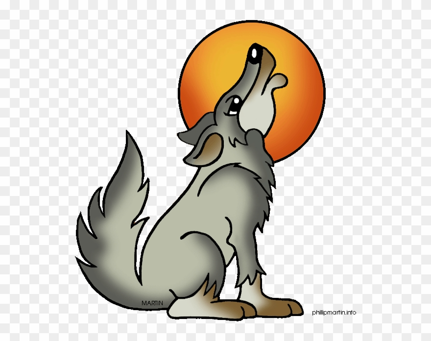 Wolf Howling At The Moon Clipart.