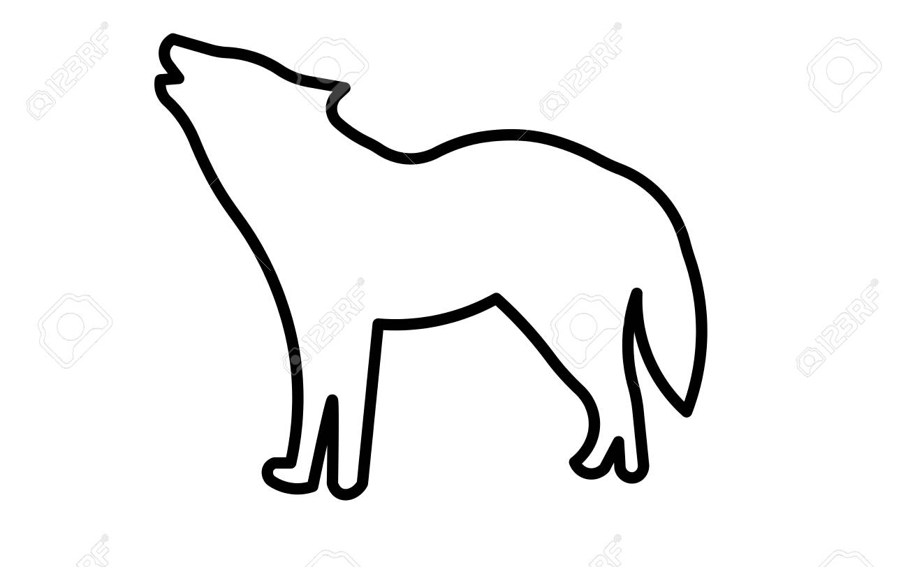 Howling wolf silhouette clip art outline on white background...