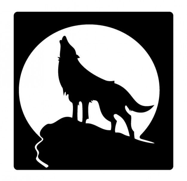 Howling wolf silhouette and full moon.