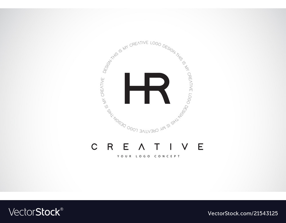 Hr h r logo design with black and white creative.