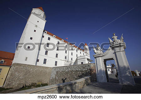 Stock Photography of The castle (hrad) after reconstruction.