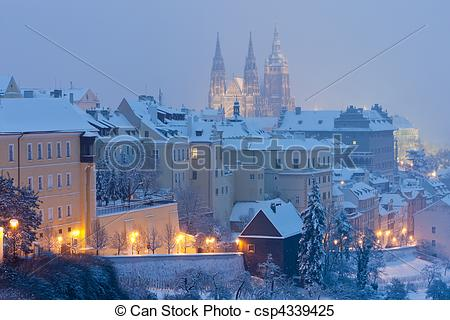 Stock Images of Hradcany in winter, Prague, Czech Republic.