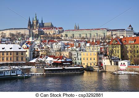 Stock Photography of Hradcany and Prague Castle panorama.