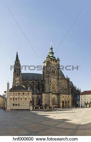 Stock Photography of Czech Republic, Prague, Hradcany Castle and.