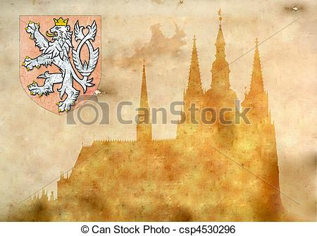 Stock Illustration of Prague castle and Cathedral of St Vitus.