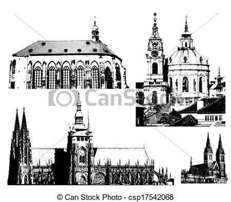 Hradcany Vector Clip Art Illustrations. 8 Hradcany clipart EPS.