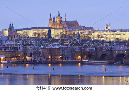Stock Photograph of prague in winter.