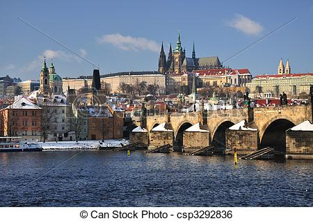 Stock Image of Hradcany and Prague Castle panorama.