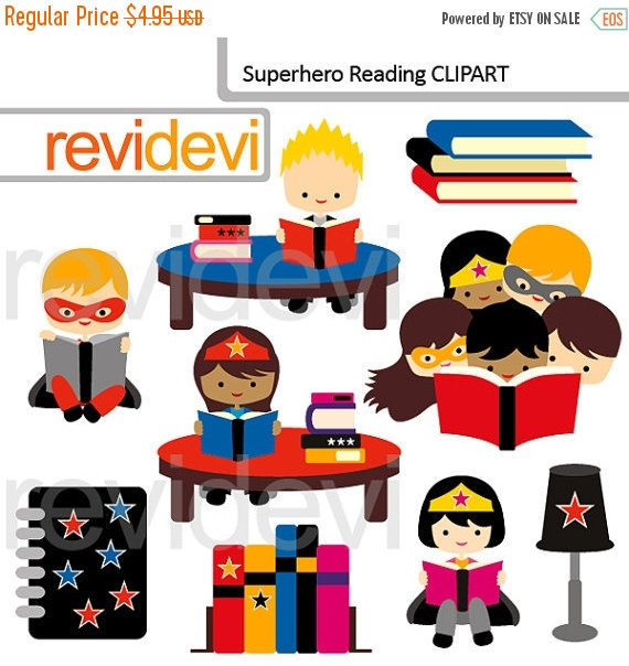 30% OFF SALE Superhero reading clipart cute superhero by revidevi.