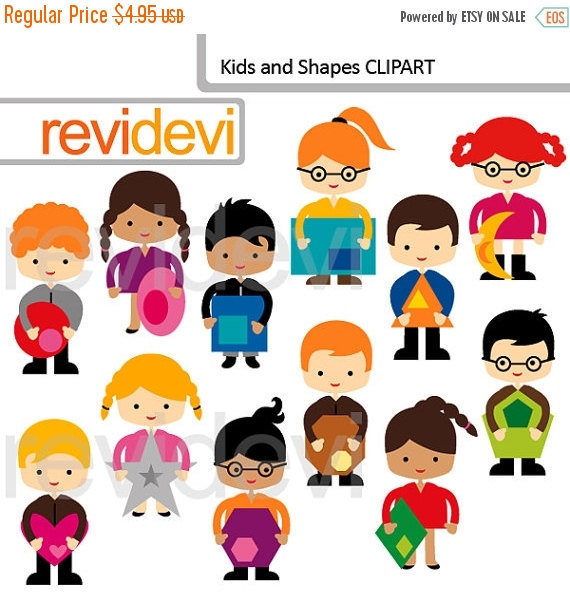 30% OFF SALE Digital clipart Kids and Shapes 07578 by revidevi.