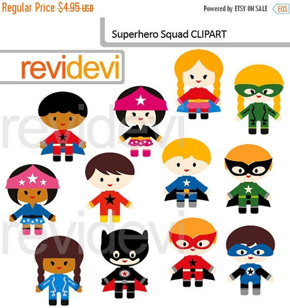 30% OFF SALE Superhero squad clipart commercial use by revidevi.