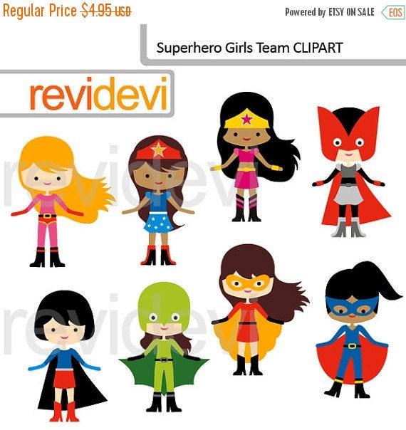 30% OFF SALE Superhero Girls team clipart digital clip by revidevi.