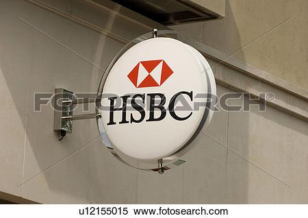 Stock Image of England, North Yorkshire, York, An HSBC bank sign.