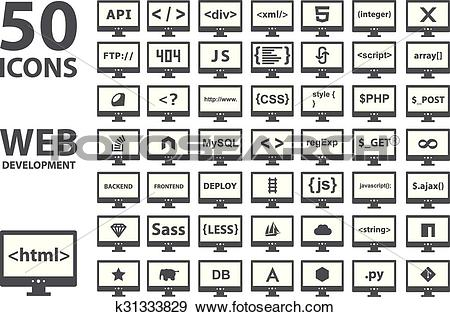 Clip Art of Vector collection of web development icons: html, css.