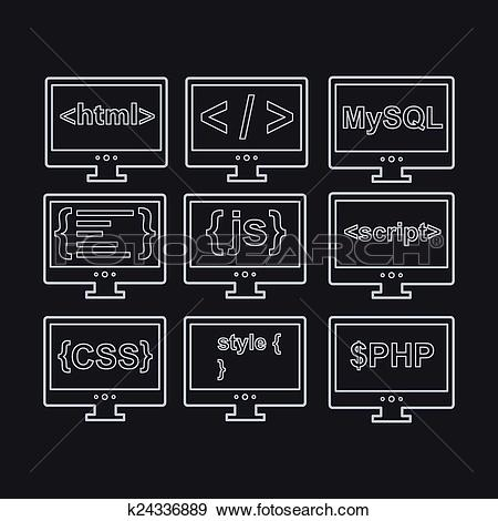 Clip Art of web development line icons as html, css, tag, mysql.