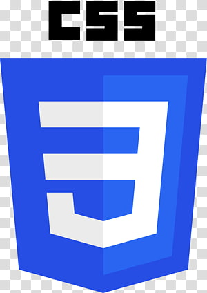White and blue shield shape logo, CSS3 Cascading Style Sheets.