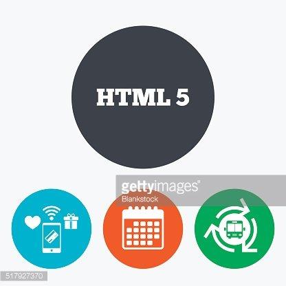 HTML5 sign icon. New Markup language symbol. Clipart Image.