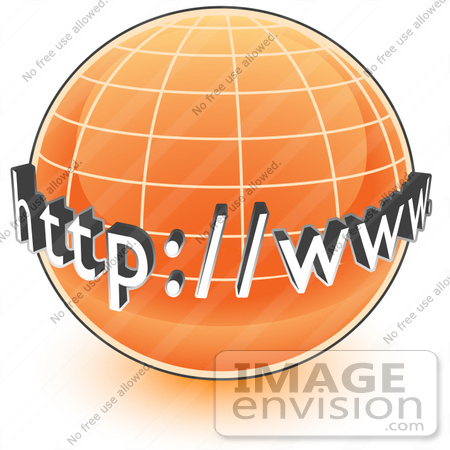 Clip Art Graphic of an Orange Internet Globe With Http Www On It.