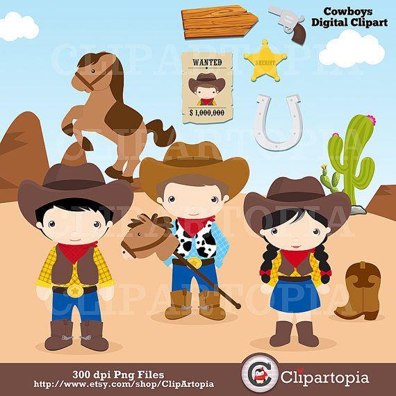 Cowboys digital clipart / Little Cowboys Clip art / Wild.
