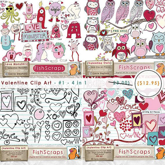 Valentine Clip Art Special Offer 4 in 1 Graphics.