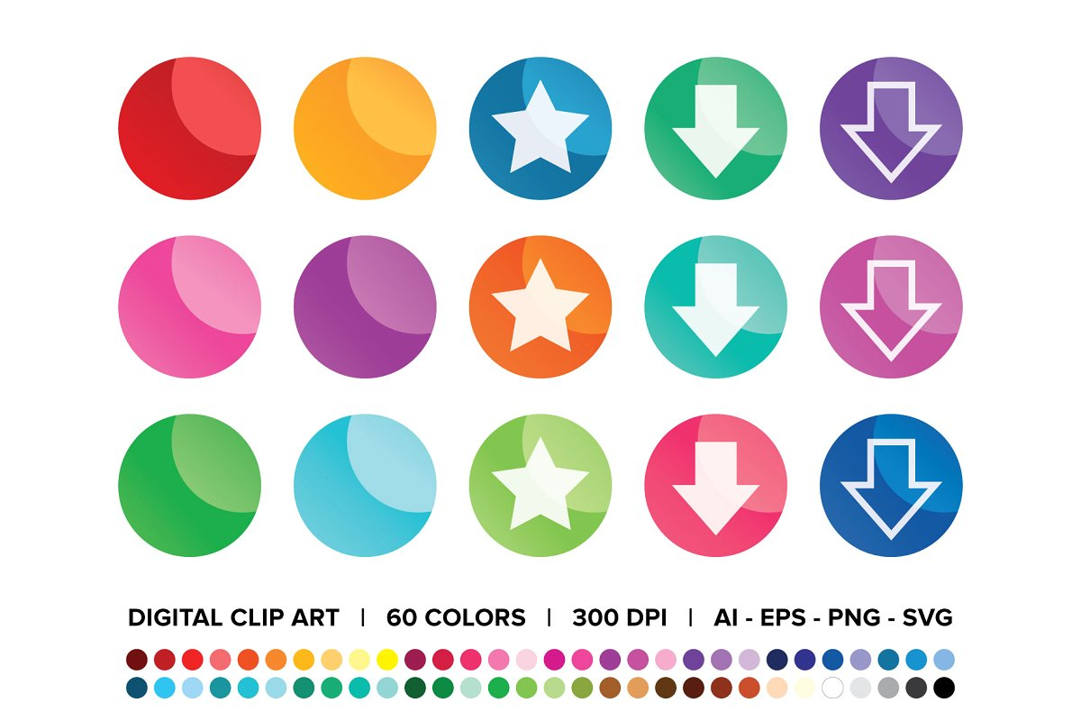 Round Gradient Web Button Set ~ Icons ~ Creative Market.