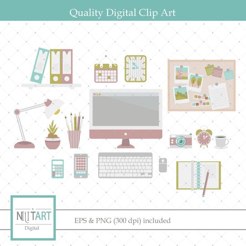 Office clipart , Desk clipart, vector graphics, study room clip art,  digital clip art, digital images.