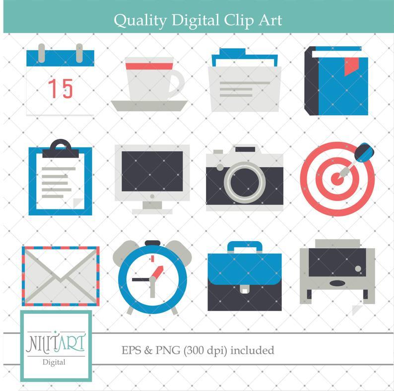 Work clip art, Office clipart, vector graphics, envelope clip art, digital  clip art, digital images.