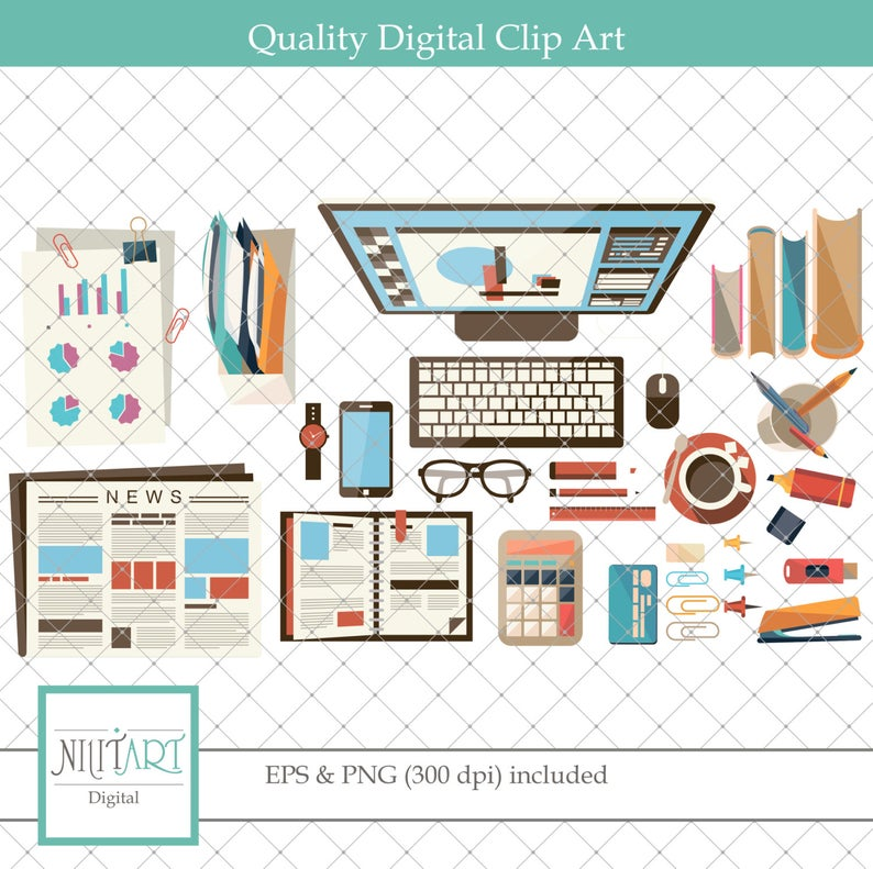 Office clipart , Desk clipart, vector graphics, Startup company clipart,  digital clip art, digital images.