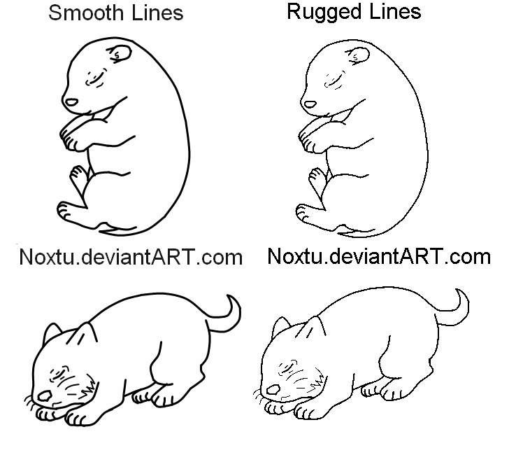 Father cat and kits lineart.