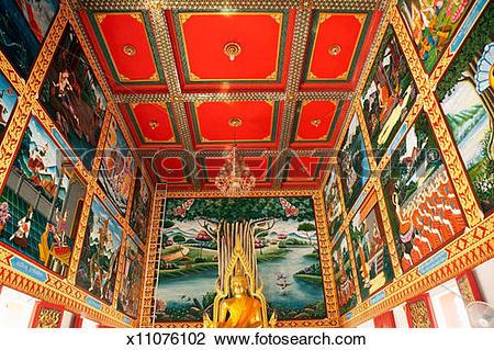 Stock Photo of Thailand, Hua Hin, interior of Wat Khao Klailat.