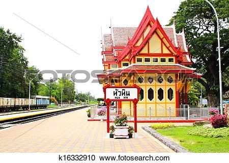 Stock Photography of Royal pavilion at hua hin railway station.