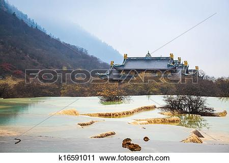 Stock Photography of huanglong scenery with calcification pond.