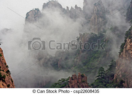 Drawings of Huang Shan Mountains hidden in mist, oil paint.