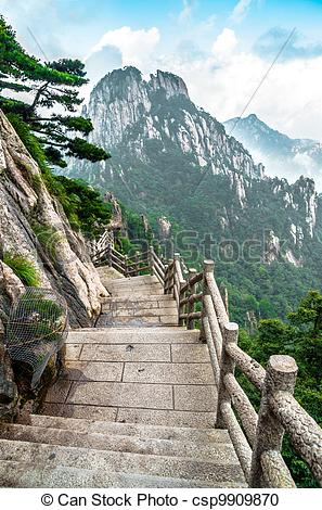 Stock Photography of Huangshan mountain path.